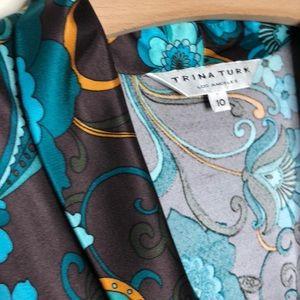 Trina Turk Dresses - Trina Turk brown/turquoise V-neck floral dress 10